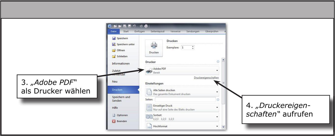 Dialog Eigenschaften von Adobe PDF