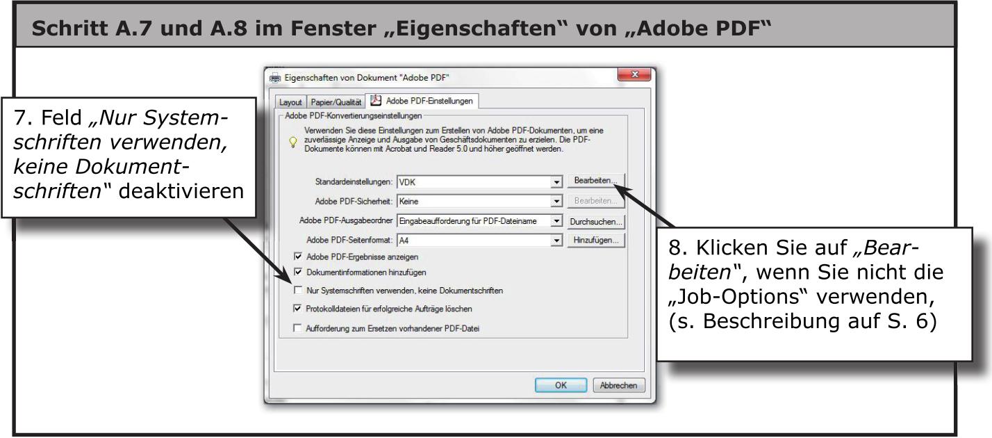Dialog Erweitert... von Adobe PDF (Seiteneinrichtung)