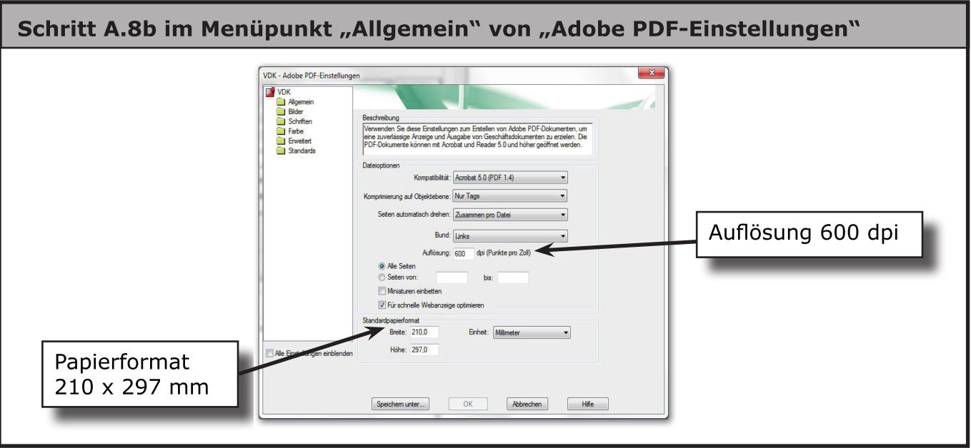 Dialog Eigenschaften von Adobe PDF (Einstellungen)