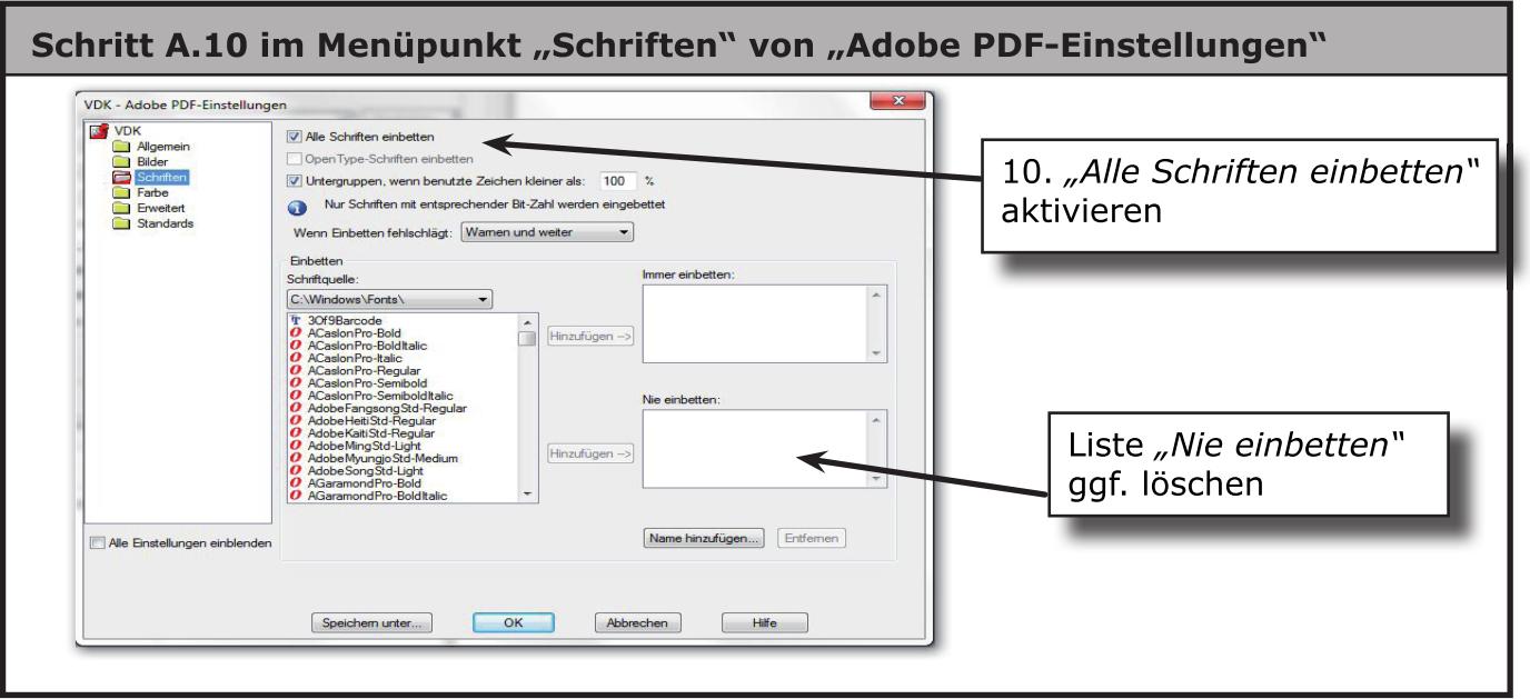 """Dialog von """"Adobe PDF""""-Einstellungen: Schriften"""