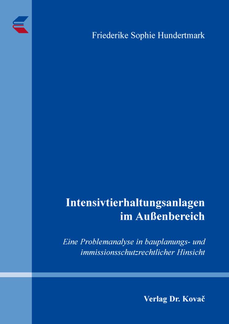 Cover: Intensivtierhaltungsanlagen im Außenbereich