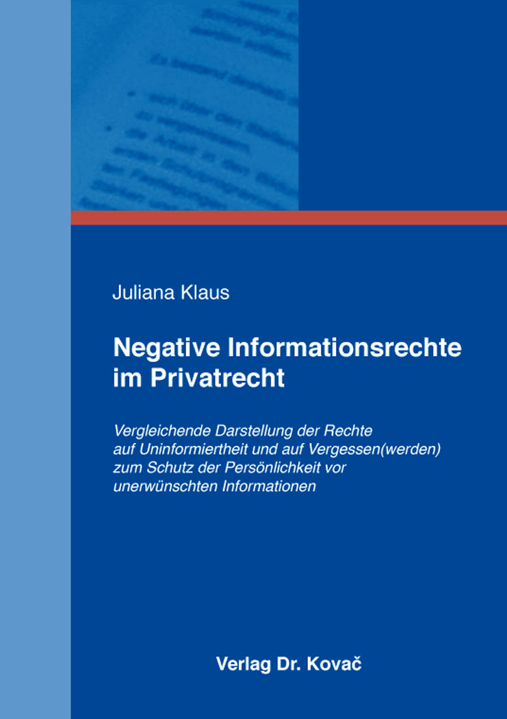 Cover: Negative Informationsrechte im Privatrecht