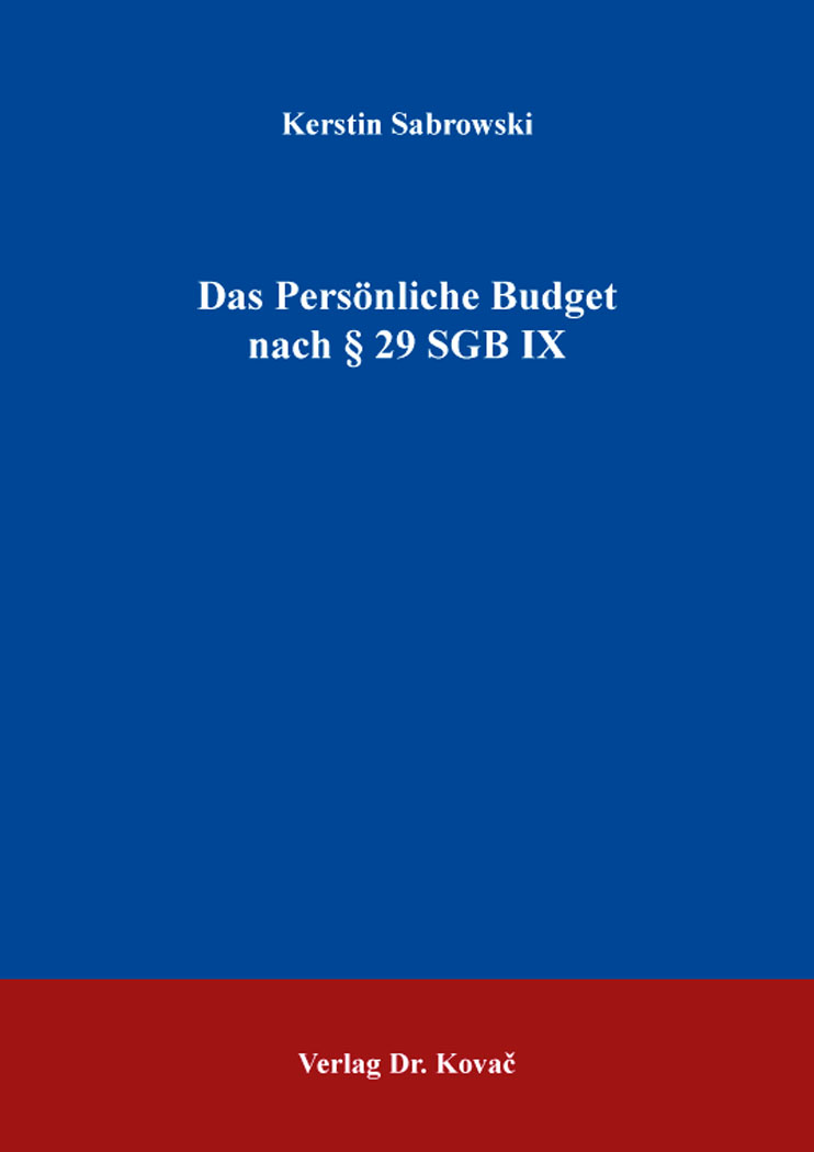 Cover: Das Persönliche Budget nach §29SGBIX