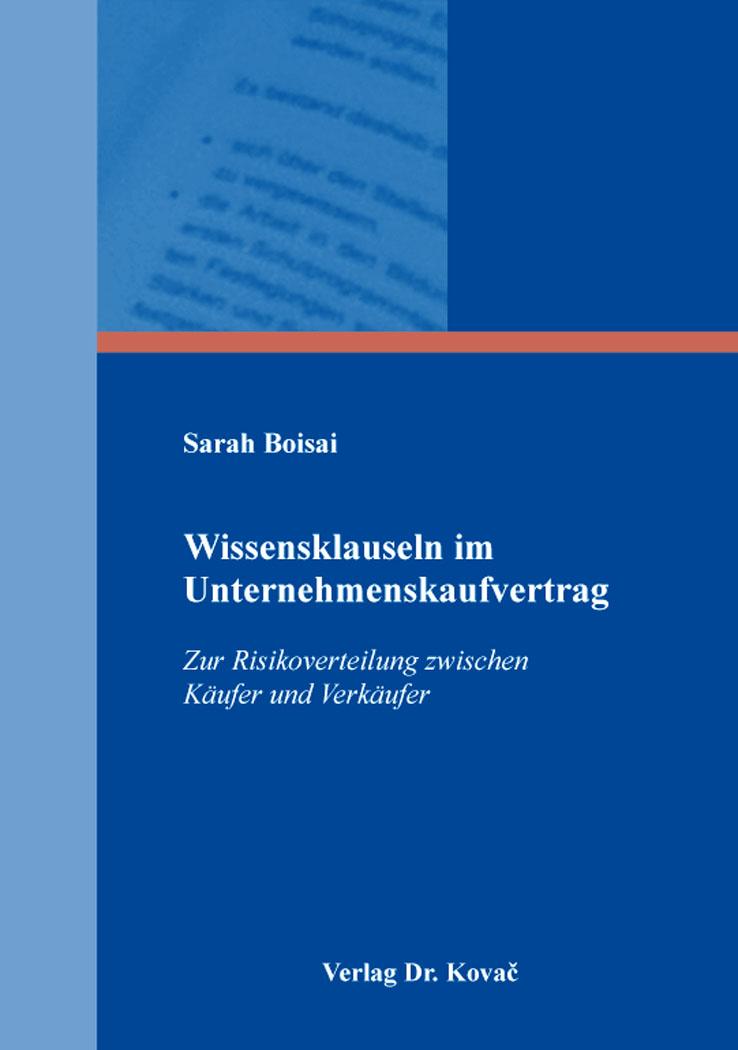 Cover: Wissensklauseln im Unternehmenskaufvertrag