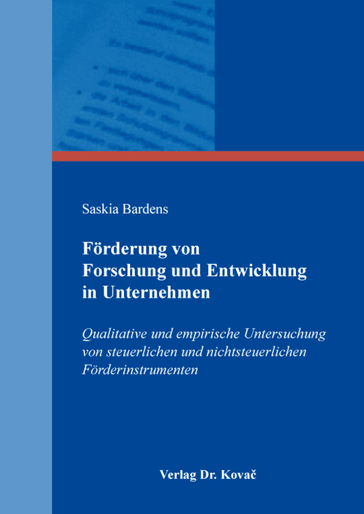 Cover: Förderung von Forschung und Entwicklung in Unternehmen