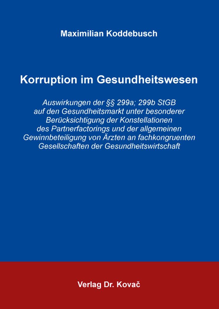 Cover: Korruption im Gesundheitswesen