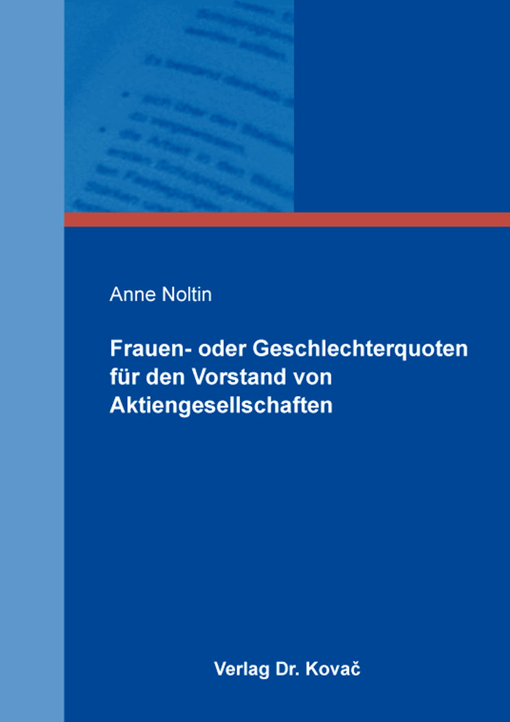 Cover: Frauen- oder Geschlechterquoten für den Vorstand von Aktiengesellschaften