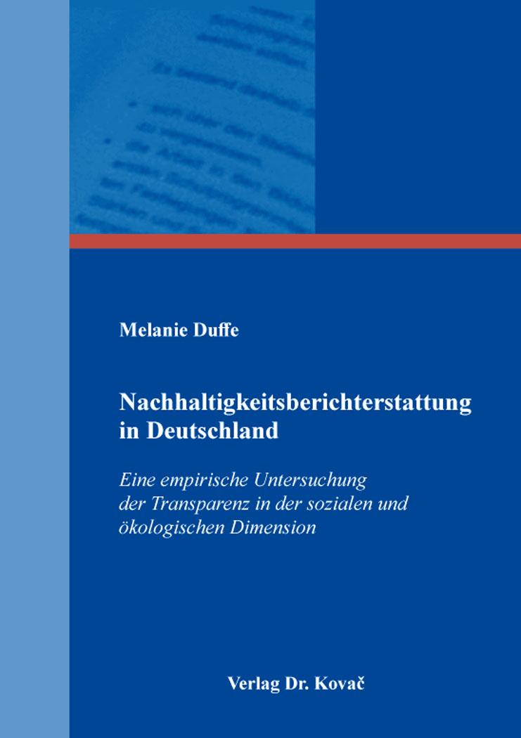 Cover: Nachhaltigkeitsberichterstattung in Deutschland
