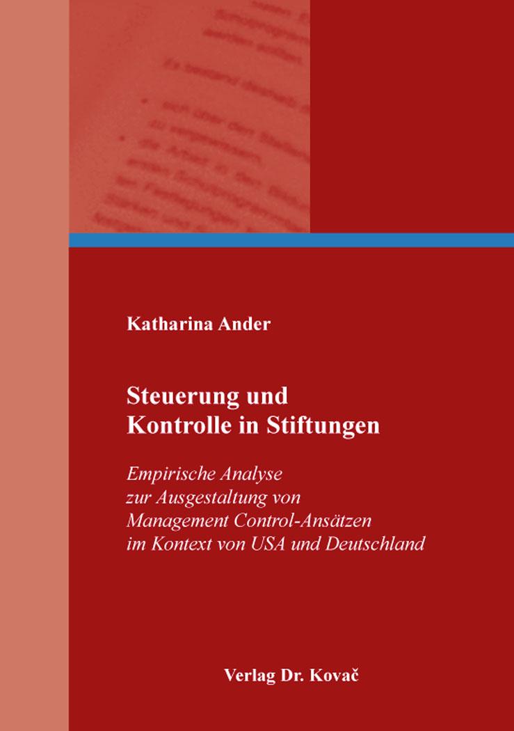 Cover: Steuerung und Kontrolle in Stiftungen