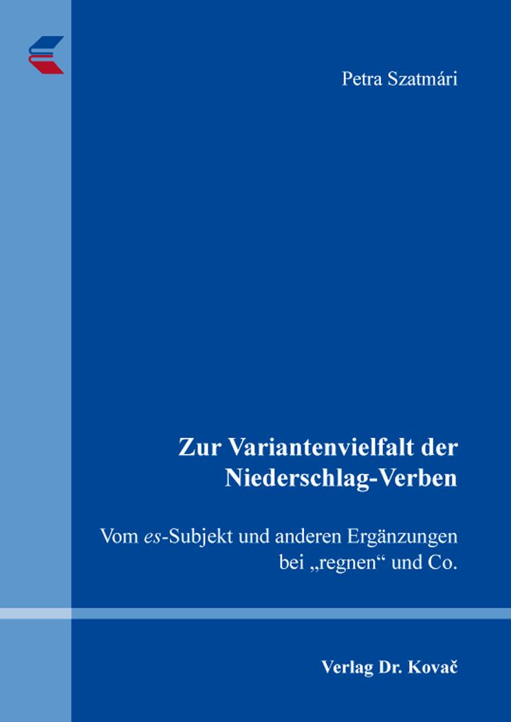 Cover: Zur Variantenvielfalt der Niederschlag-Verben