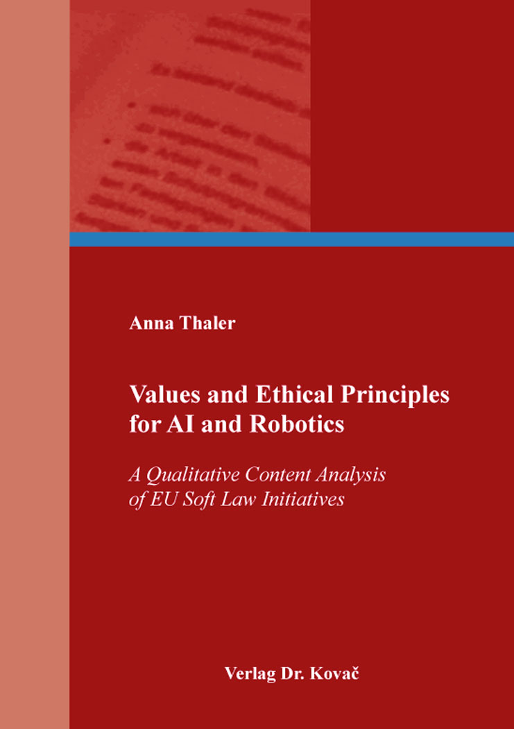 Cover: Values and Ethical Principles for AI and Robotics