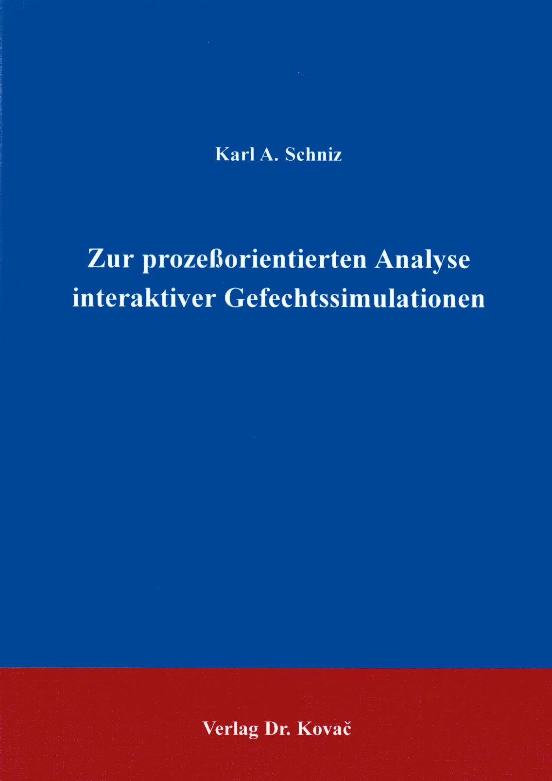 Cover: Zur prozessorientierten Analyse interaktiver Gefechtssimulationen