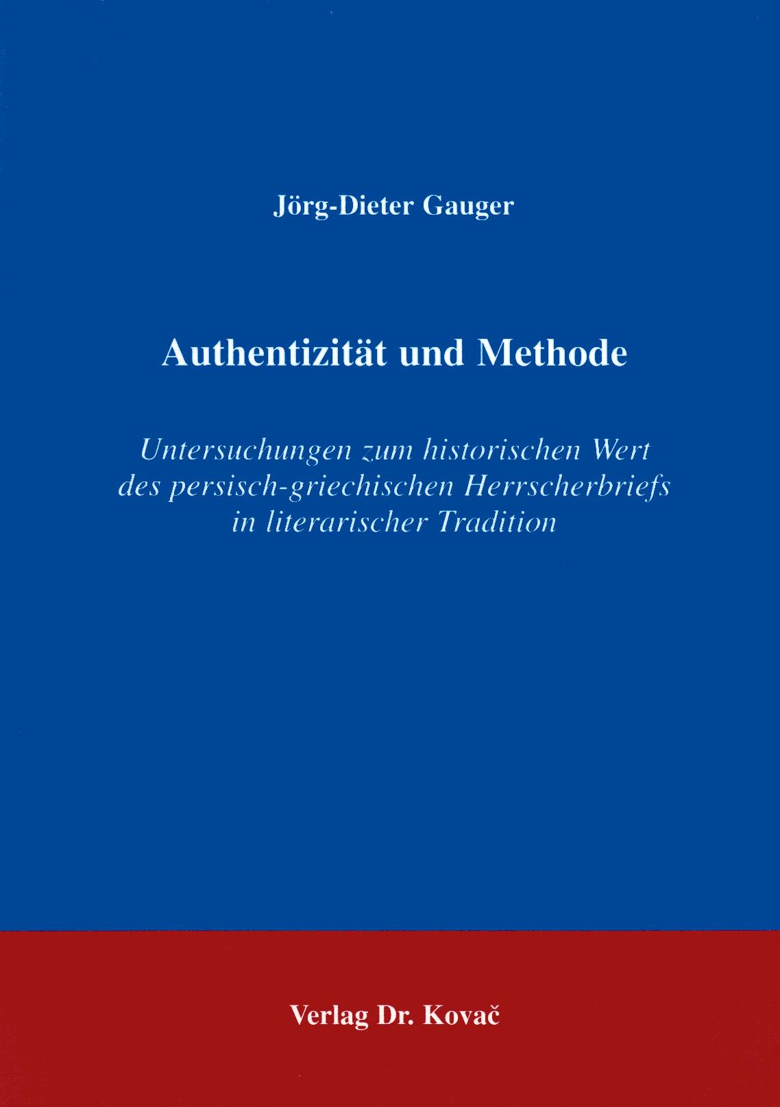 Cover: Authentizität und Methode