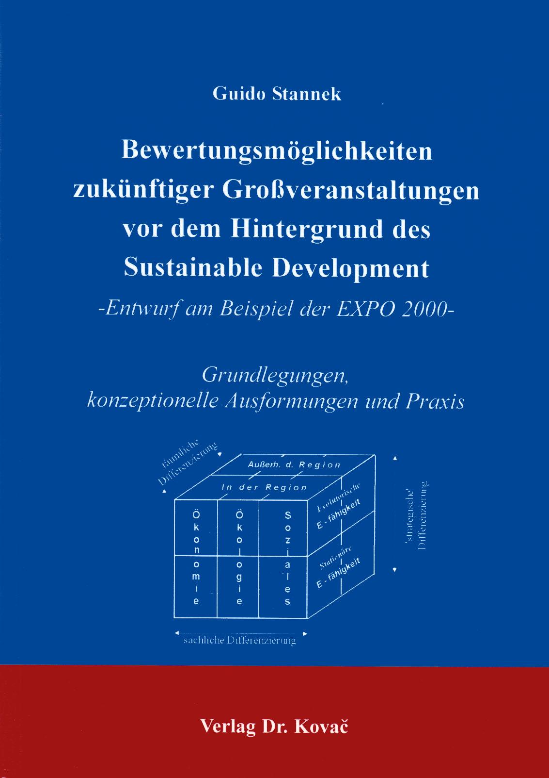 Cover: Bewertungsmöglichkeiten zukünftiger Großveranstaltungen vor dem Hintergrund des Sustainable Development
