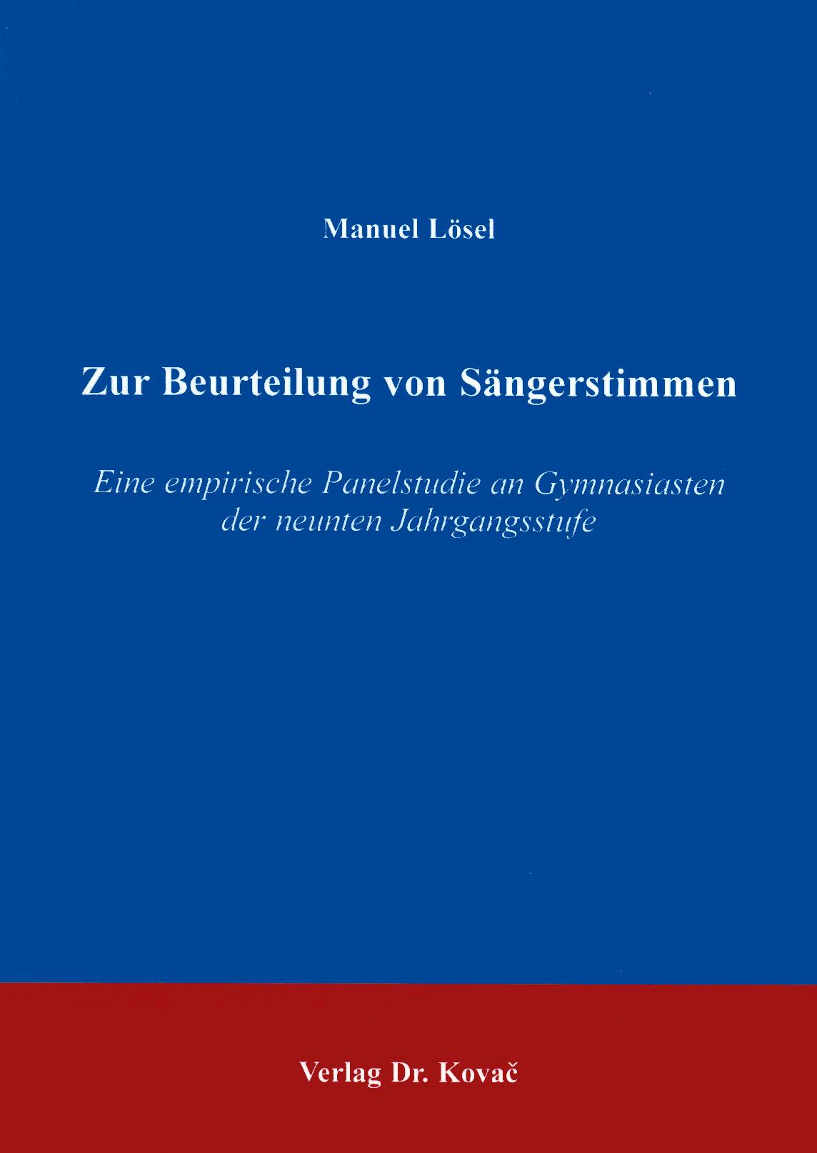 Cover: Zur Beurteilung von Sängerstimmen