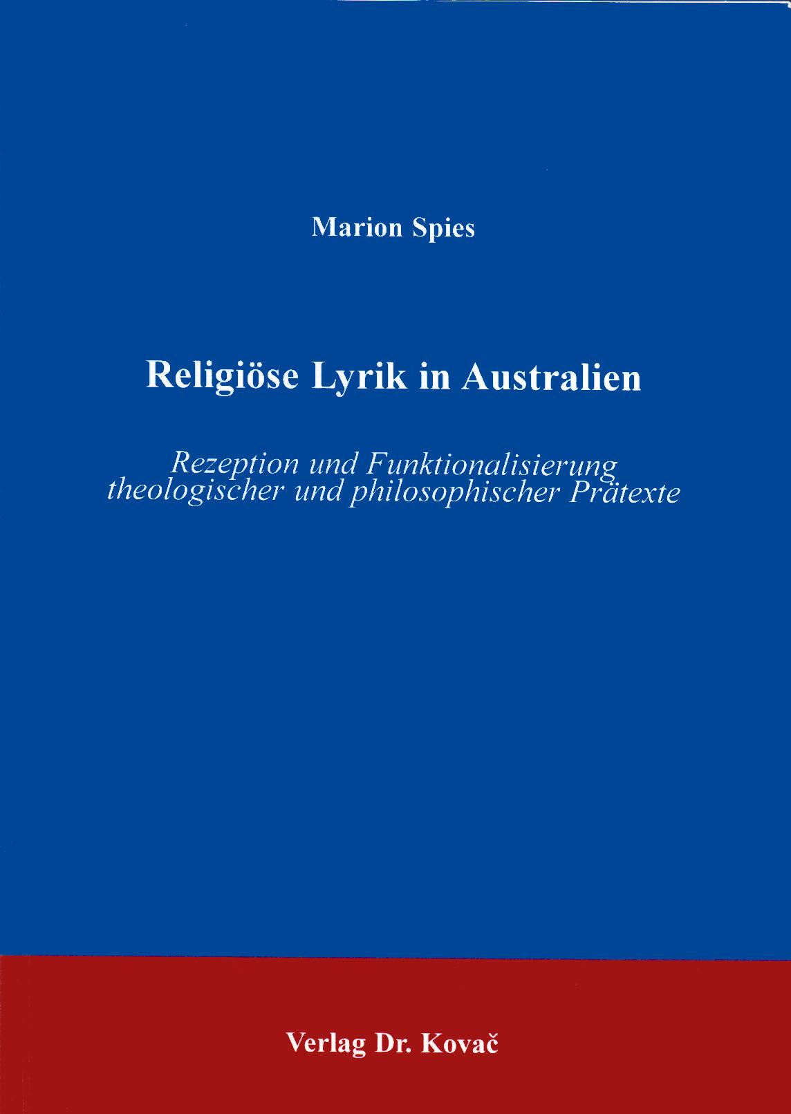 Cover: Religiöse Lyrik in Australien