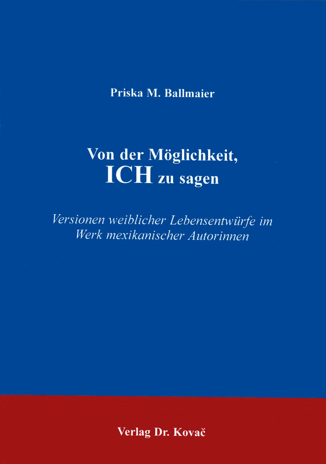 Cover: Von der Möglichkeit, ICH zu sagen