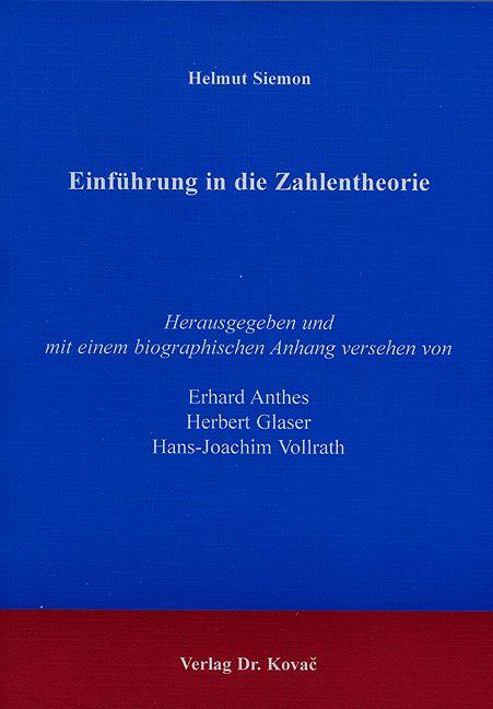 Cover: Einführung in die Zahlentheorie