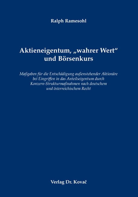 """Cover: Aktieneigentum, """"wahrer Wert"""" und Börsenkurs"""