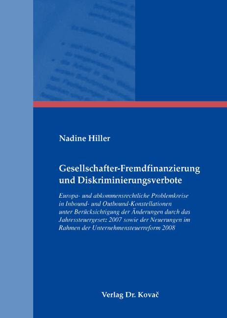 Cover: Gesellschafter-Fremdfinanzierung und Diskriminierungsverbote