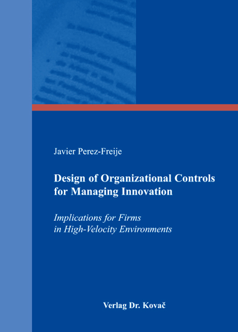 Cover: Design of Organizational Controls for Managing Innovation