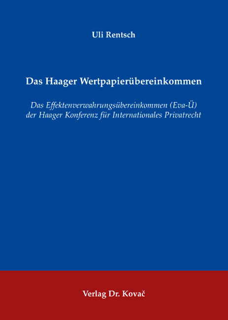 Cover: Das Haager Wertpapierübereinkommen
