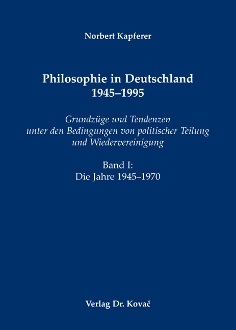 Cover: Philosophie in Deutschland 1945–1995