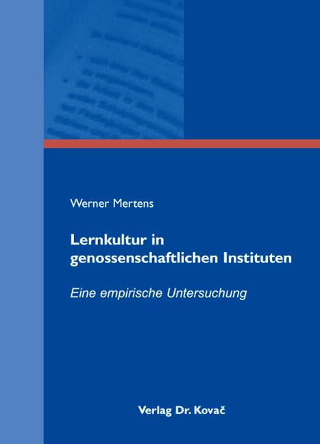 Cover: Lernkultur in genossenschaftlichen Instituten