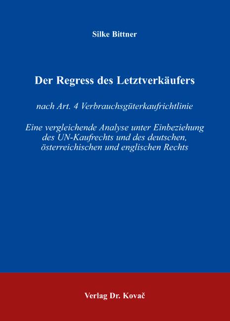 Cover: Der Regress des Letztverkäufers