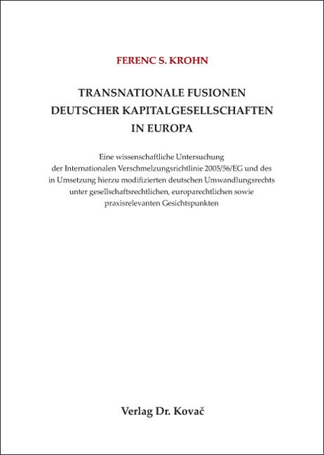 Cover: Transnationale Fusionen deutscher Kapitalgesellschaften in Europa