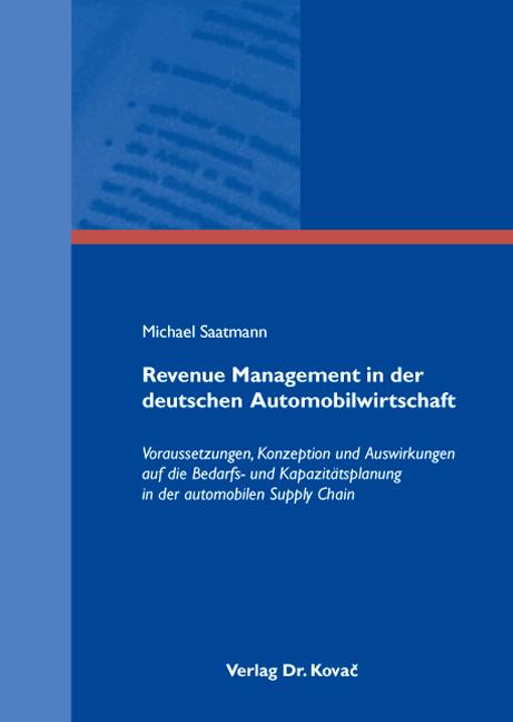 Cover: Revenue Management in der deutschen Automobilwirtschaft