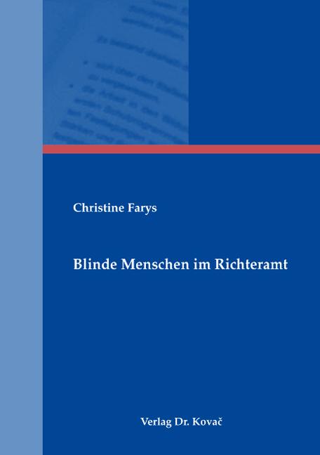 Cover: Blinde Menschen im Richteramt