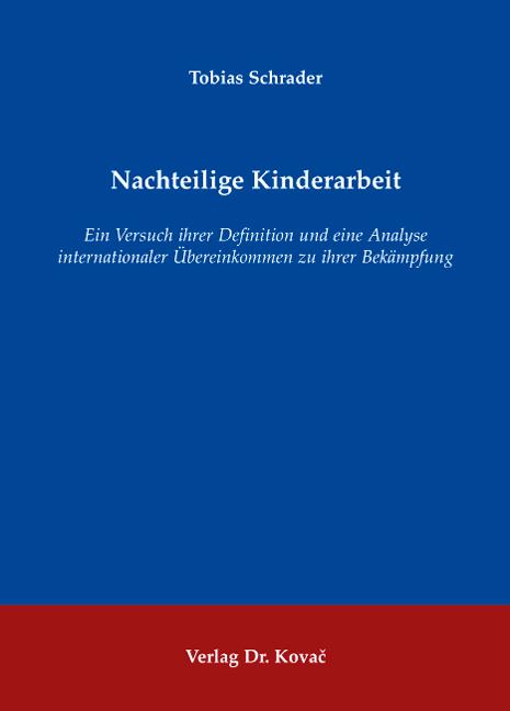 Cover: Nachteilige Kinderarbeit
