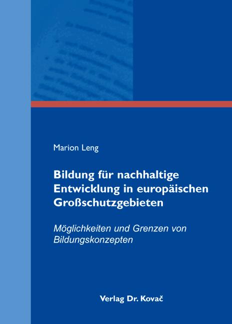 Cover: Bildung für nachhaltige Entwicklung in europäischen Großschutzgebieten