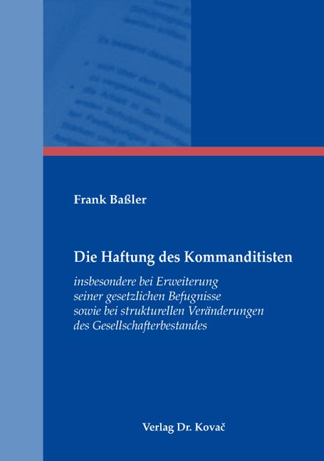 Cover: Die Haftung des Kommanditisten