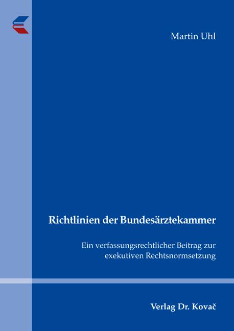 Cover: Richtlinien der Bundesärztekammer