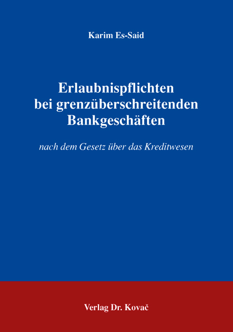 Cover: Erlaubnispflichten bei grenzüberschreitenden Bankgeschäften