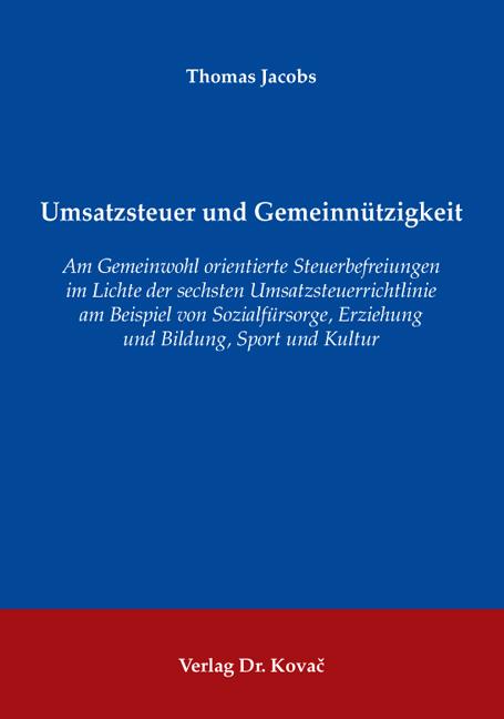 Cover: Umsatzsteuer und Gemeinnützigkeit