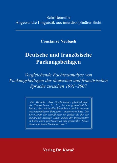 Cover: Deutsche und französische Packungsbeilagen