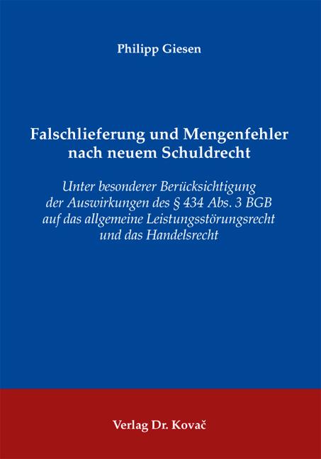 Cover: Falschlieferung und Mengenfehler nach neuem Schuldrecht