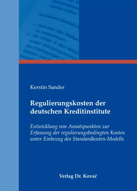 Cover: Regulierungskosten der deutschen Kreditinstitute