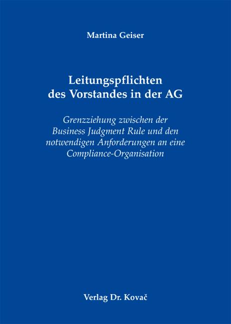 Cover: Leitungspflichten des Vorstandes in der AG