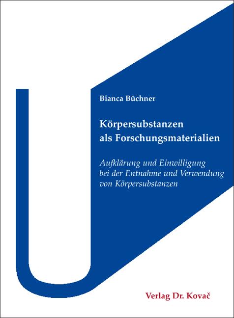 Cover: Körpersubstanzen als Forschungsmaterialien