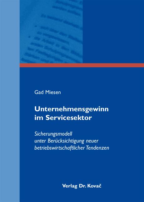 Cover: Unternehmensgewinn im Servicesektor