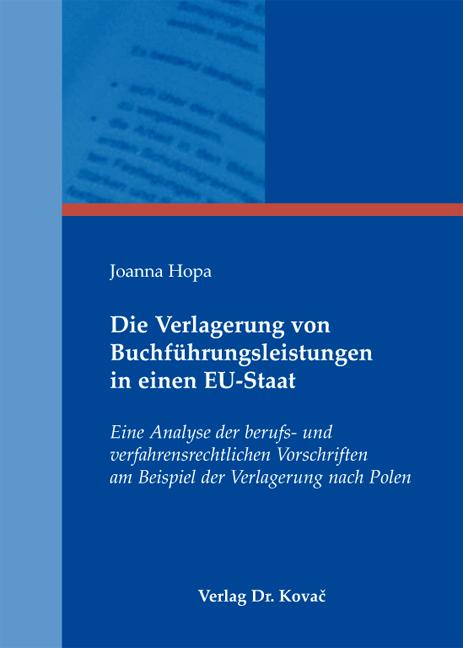 Cover: Die Verlagerung von Buchführungsleistungen in einen EU-Staat