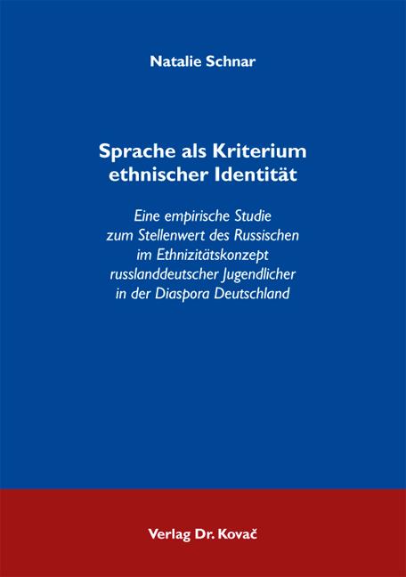 Cover: Sprache als Kriterium ethnischer Identität