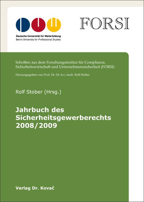 Cover: Jahrbuch des Sicherheitsgewerberechts 2008/2009
