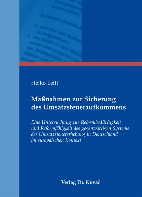 Cover: Maßnahmen zur Sicherung des Umsatzsteueraufkommens
