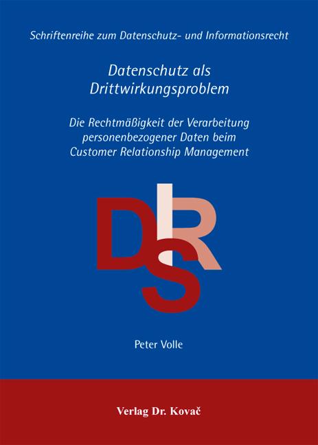 Cover: Datenschutz als Drittwirkungsproblem