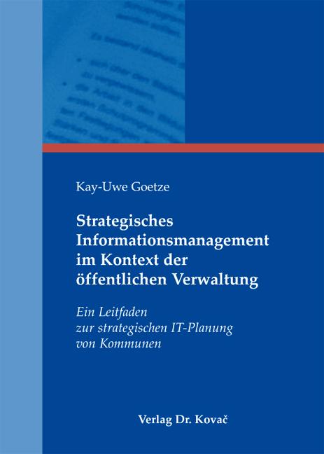 Cover: Strategisches Informationsmanagement im Kontext der öffentlichen Verwaltung